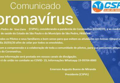 Comunicado: Coronavírus